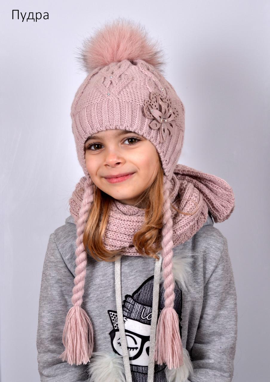Зимняя шапка с косичками для девочки