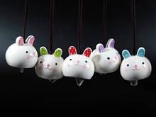 Колокольчики из керамики Зайчики цветные Набор 5 шт
