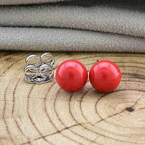 Серьги-гвоздики искусственный жемчуг красный позолота белое золото