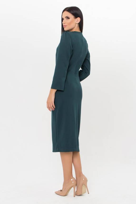 Изумрудное трикотажное платье в деловом стиле, фото 2