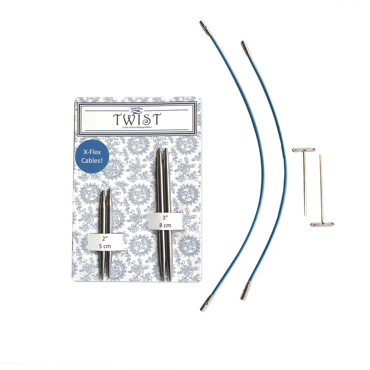 Набор укороченных съемных спиц  5 и 8 см. -4.0мм (синие)