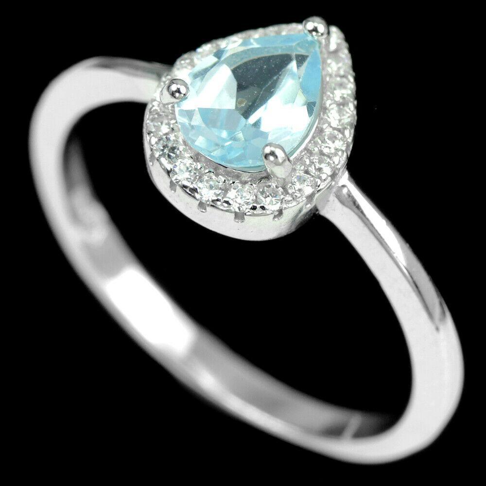 Серебряное кольцо с небесно голубым топазом, 2077КЦТ