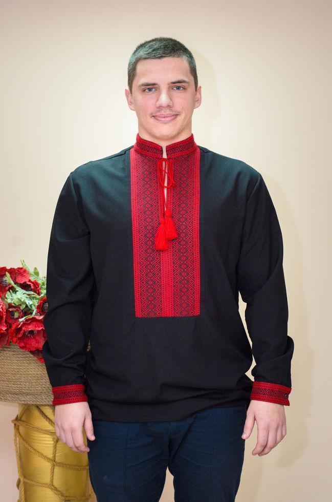 Вышиванка мужская Волинські візерунки на длинный рукав тканая 48 р. черная
