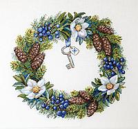 """Набор для вышивания крестом """"Зимний венок"""" Мережка"""