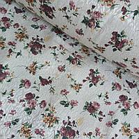 Ткань скатертная жаккардовая с букетиками роз на кремовом фоне, ширина 147 см, фото 1