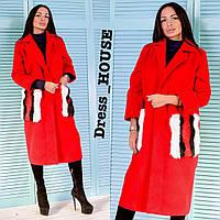 """Женское кашемировое пальто с меховыми карманами """" Gucci """",красного цвета"""