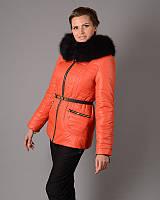 Куртка женская Mangust зимняя с поясом оранж (размер 50), фото 1
