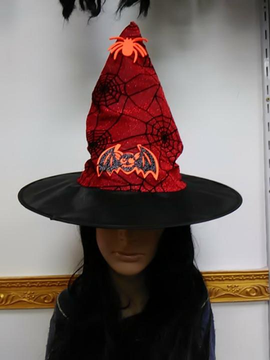 Шляпа ведьмы с принтом паутина красная