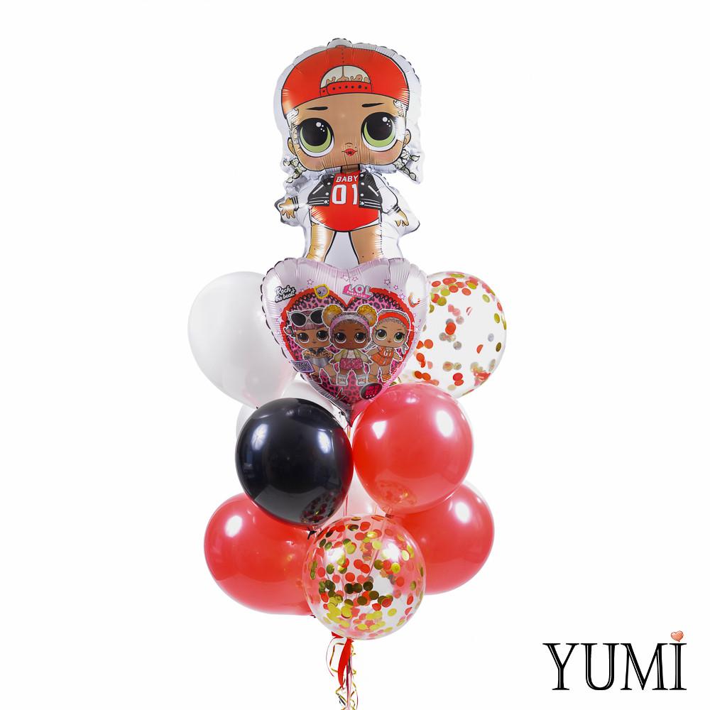 Связка: кукла ЛОЛ Эм Си Сваг, сердце ЛОЛ рок-группа, 8 разноцветных шаров и 3 прозрачных с конфетти