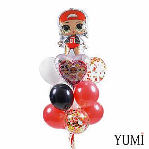 Связка: кукла ЛОЛ Эм Си Сваг, сердце ЛОЛ рок-группа, 8 разноцветных шаров и 3 прозрачных с конфетти, фото 2