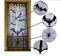 """Кружевная занавеска для Halloween """"Летучие мыши"""" 1шт. - длина 213см, ширина 116см"""
