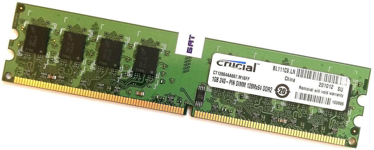Оперативная память Crucial DDR2 1Gb 667MHz PC2 5300U 1R8/2R8 Б/У MIX