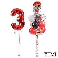 Композиция: Цифра 3 и связка: кукла ЛОЛ, сердце ЛОЛ, 8 разноцветных и 3 прозрачных шара с конфетти