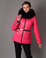 Куртка женская Mangust зимняя с поясом малина (размер 50), фото 1