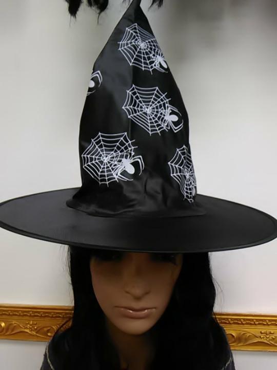 Шляпа ведьмы черная с принтом паутина