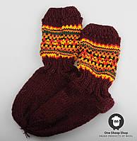 Шерстяные носки, теплые вязаные носочки, подростковые зимние носки, розмер 31-34, фото 1