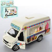 Машина металл. KINSMART 5253 W кафе мороженое на колесах
