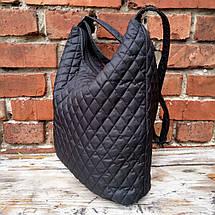 Глянец черная сумка женская через плечо стёганная, фото 2