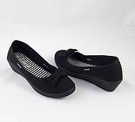 Женские Мокасины Чёрные Балетки Туфли на Танкетке, размер 38 (24 см)