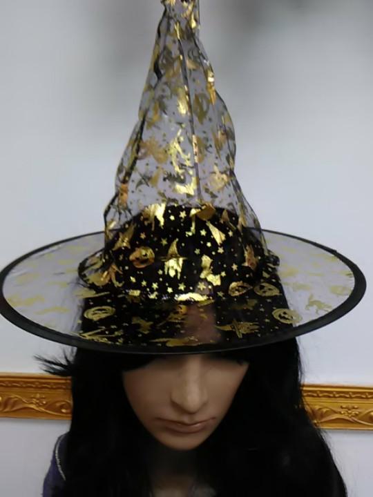 Шляпа ведьмы черная с рисунком