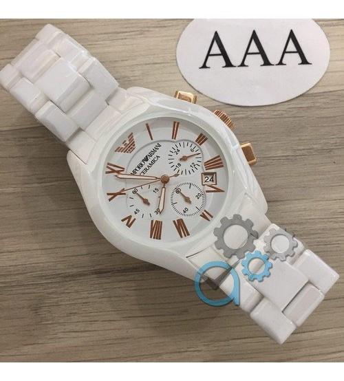 Мужские часы Emporio Armani AR-1400 White-Gold, элитные часы Эмпорио Армани белый-золотой реплика ААА