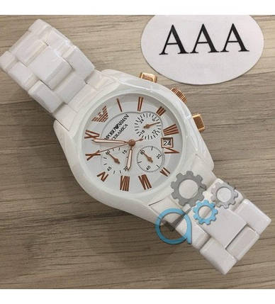 Мужские часы Emporio Armani AR-1400 White-Gold, элитные часы Эмпорио Армани белый-золотой реплика ААА, фото 2