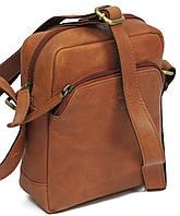 Небольшая мужская кожаная городская сумка  Always Wild 5742 cognac, рыжая