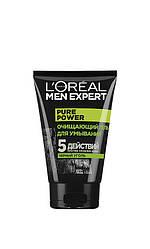 Loreal Men Expert  Очищающий гель д/умывания Pure Power 5 действий против проблем кожи для мужчин 150 мл Код 25356