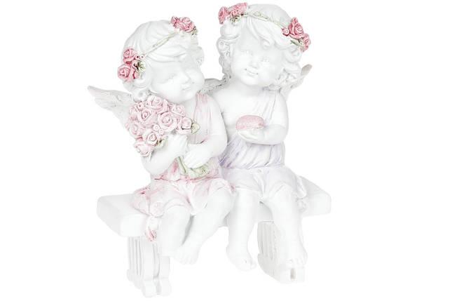 Декоративная фигурка Ангелочки на скамейке 12см, полистоун, 1шт. (887-144), фото 2