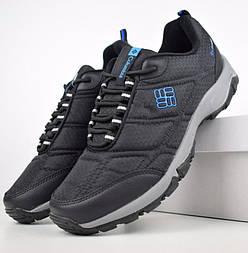Зимние мужские кроссовки Columb1a Firecamp чёрные на серой с синим 41-46рр. Живое фото. Реплика