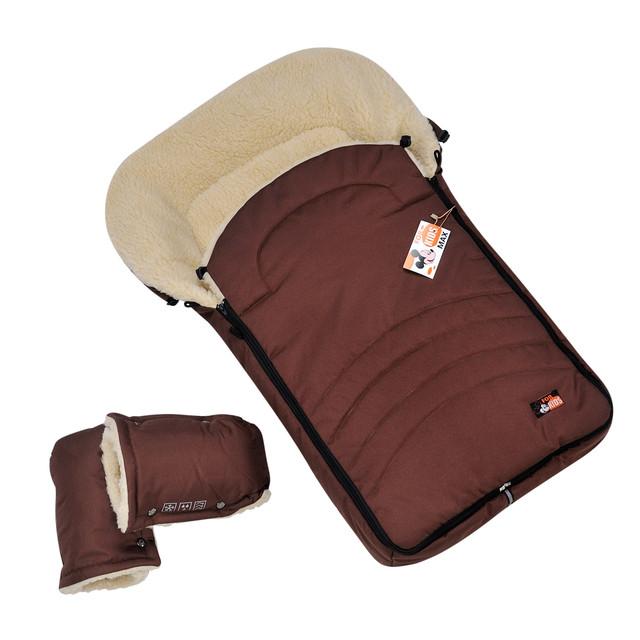 Меховой комплект в коляску или санки на овечьей шерсти (конверт и рукавицы)