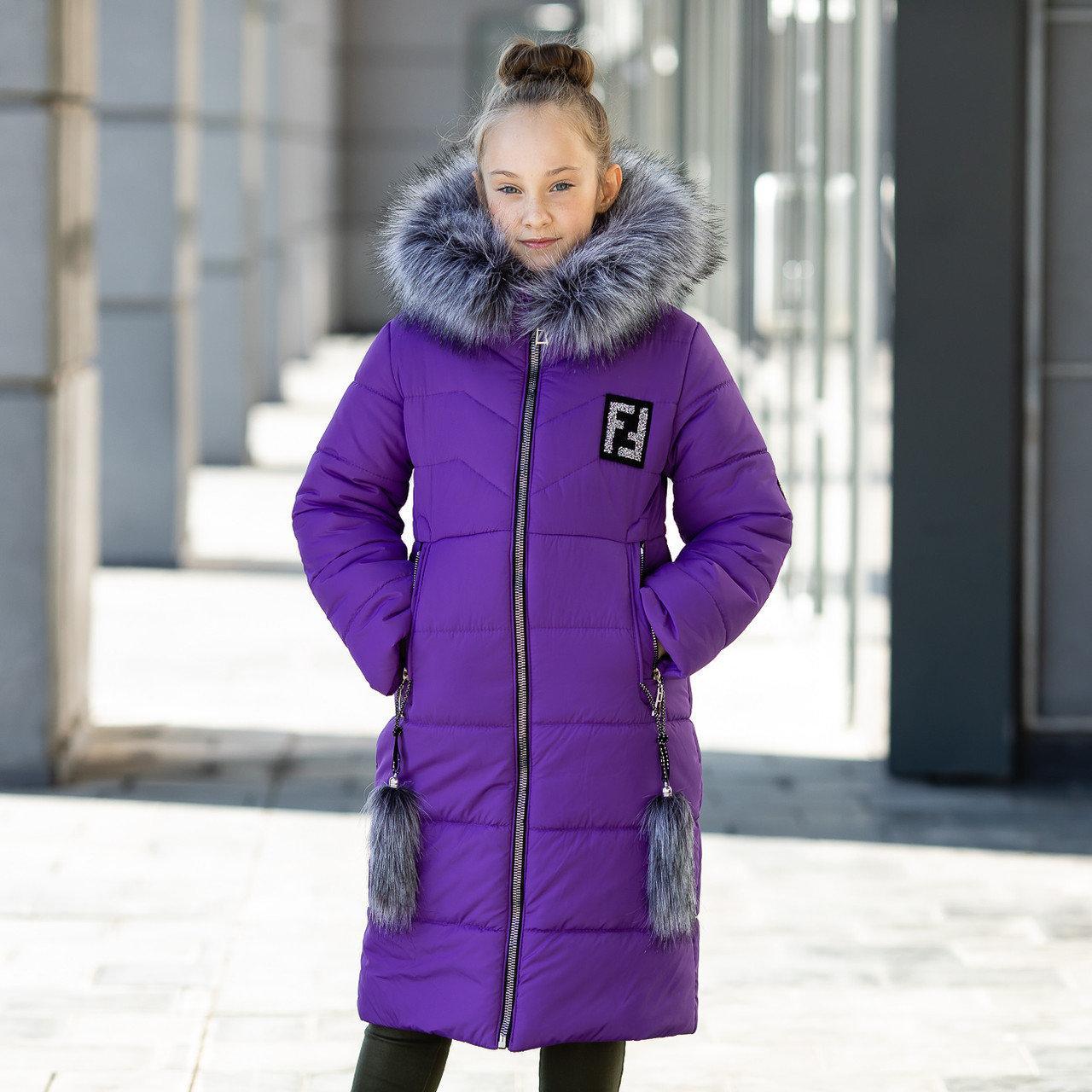 """Красивая с меховой отделкой зимняя курточка для девочки""""Фенди"""""""