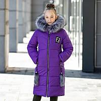 """Красивая с меховой отделкой зимняя курточка для девочки""""Фенди"""", фото 1"""