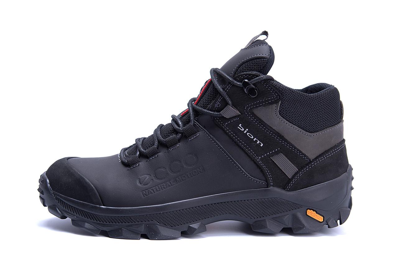 Мужские зимние кожаные ботинки Ecco biom  (реплика)