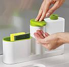 Органайзер для кухонных губок и дозатор для моющего средства (зеленый) большой, фото 4