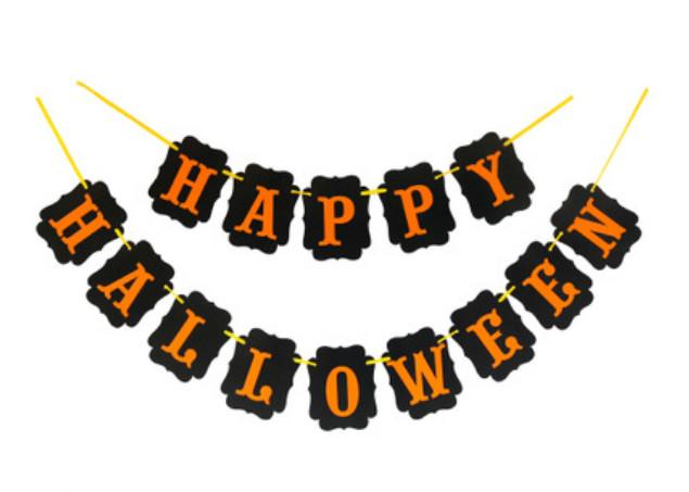 Бумажная гирлянда из флажков Happy Halloween, 2 метра
