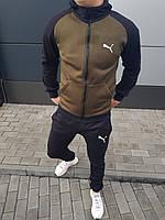 Спортивный костюм ЗИМНИЙ мужской в стиле Puma X-black-khaki