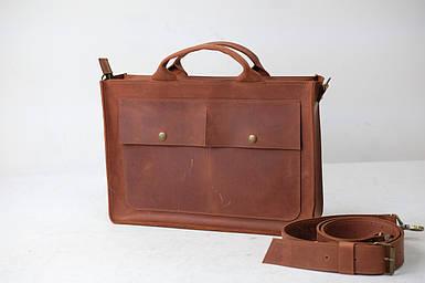 Шкіряна чоловіча сумка Дієго, натуральна Вінтажна шкіра колір коричневый, оттенок Коньяк