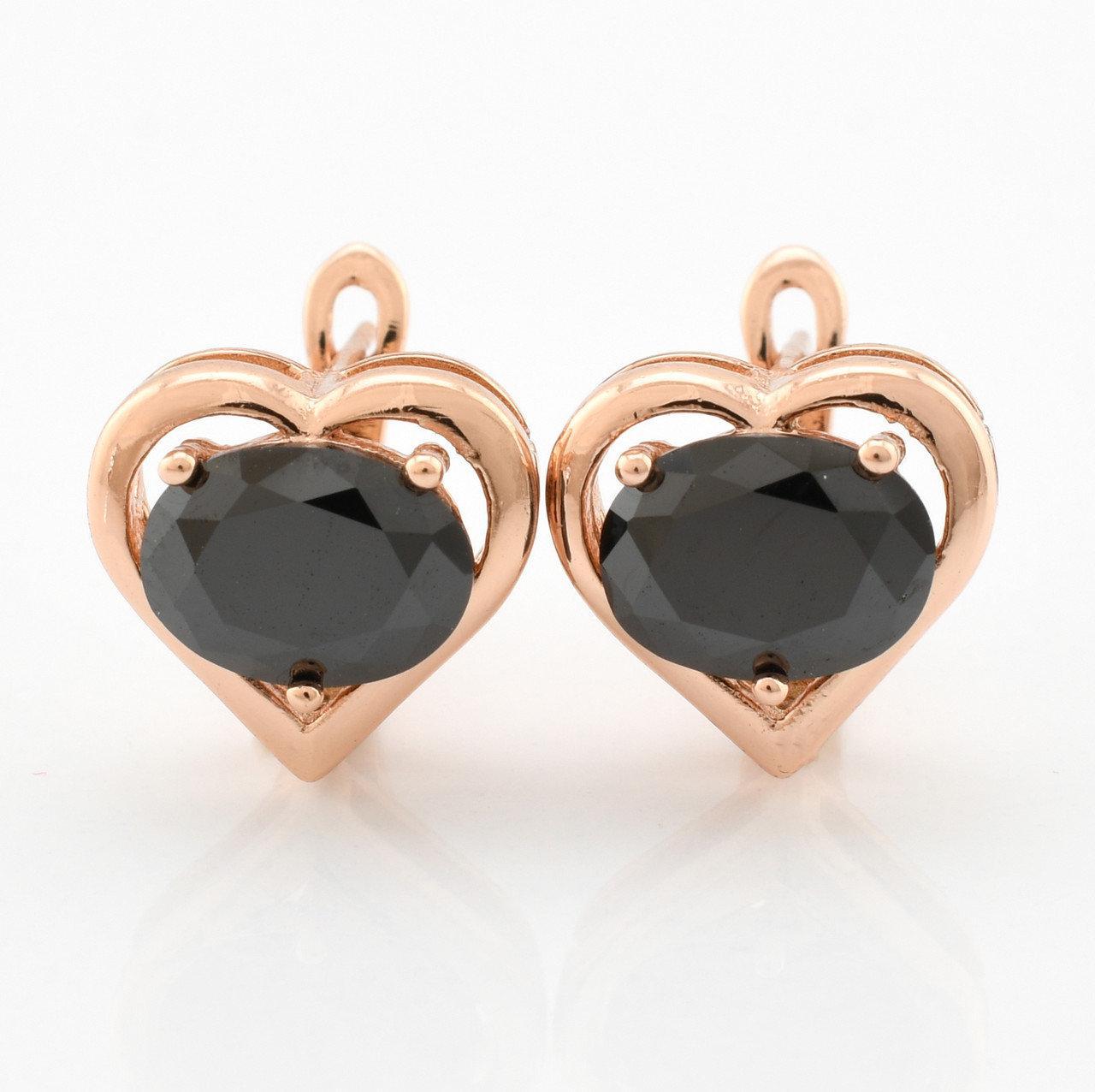 """Серьги """"Алмазное сердце"""" чёрные фианиты, позолота"""