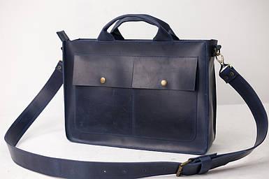 Шкіряна чоловіча сумка Дієго, натуральна Вінтажна шкіра колір Синій