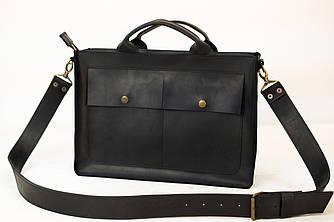 """Мужская сумка """"Модель №50"""" Винтажная кожа цвет Черный"""