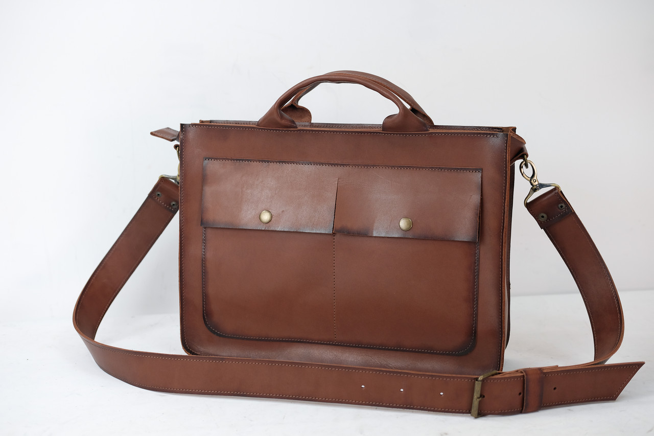 Кожаная мужская сумка Диего, натуральная кожа итальянский Краст цвет Коричневый