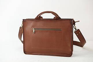 Кожаная мужская сумка Диего, натуральная кожа итальянский Краст цвет Коричневый, фото 3