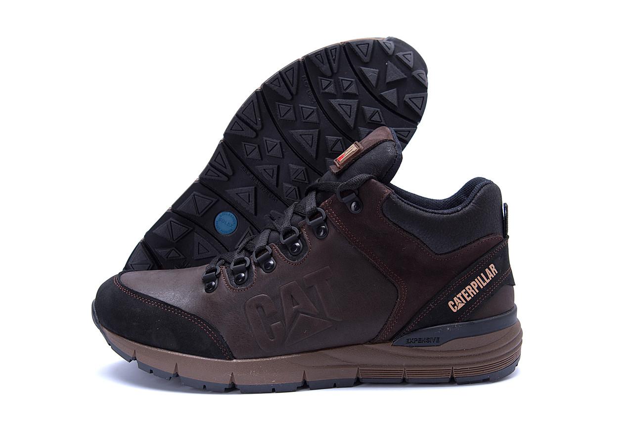 Мужские зимние кожаные ботинки CATERPILLAR Chocolate  (реплика) 4