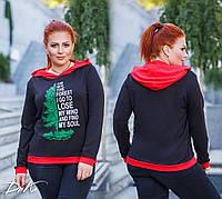 Женский модный батник с капюшоном  ДГ15210 ( норма / бат), фото 1