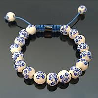 """Браслет Shamballa """"Голубые Цветы"""", керамика"""