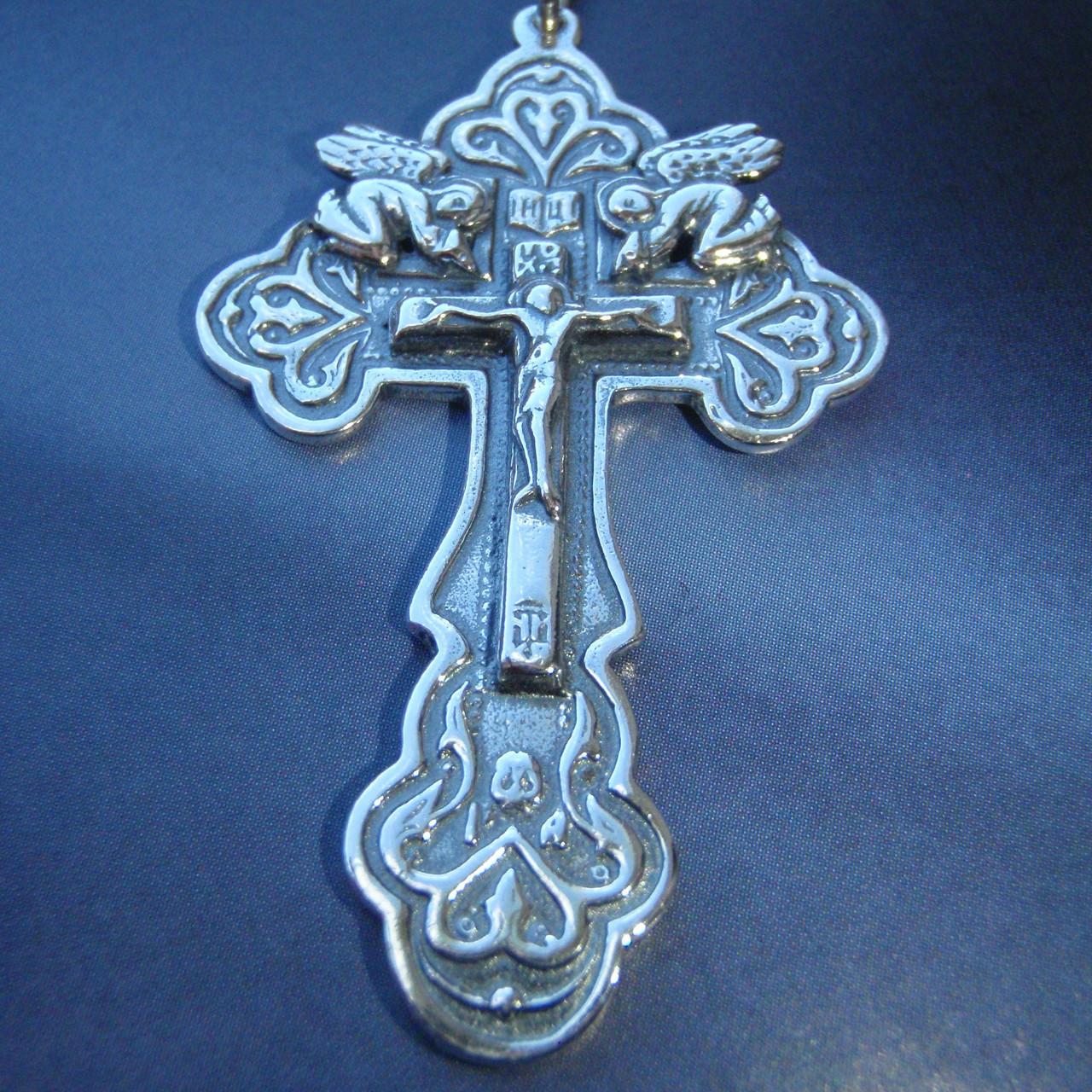 Серебряный крестик с распятием и ангелами, 10 грамм
