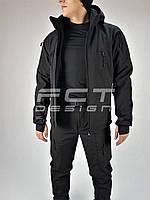 Куртка тактическая Хантер Софтшел черная на сетке