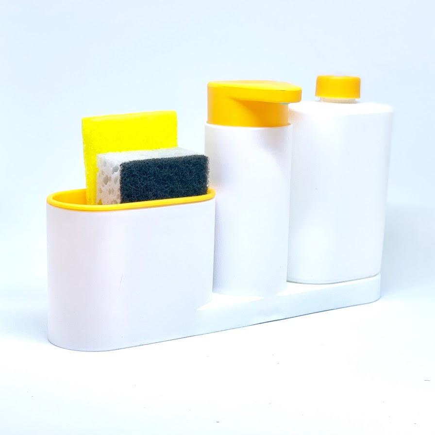 Органайзер для кухонных губок и дозатор для моющего средства (оранжевый) большой