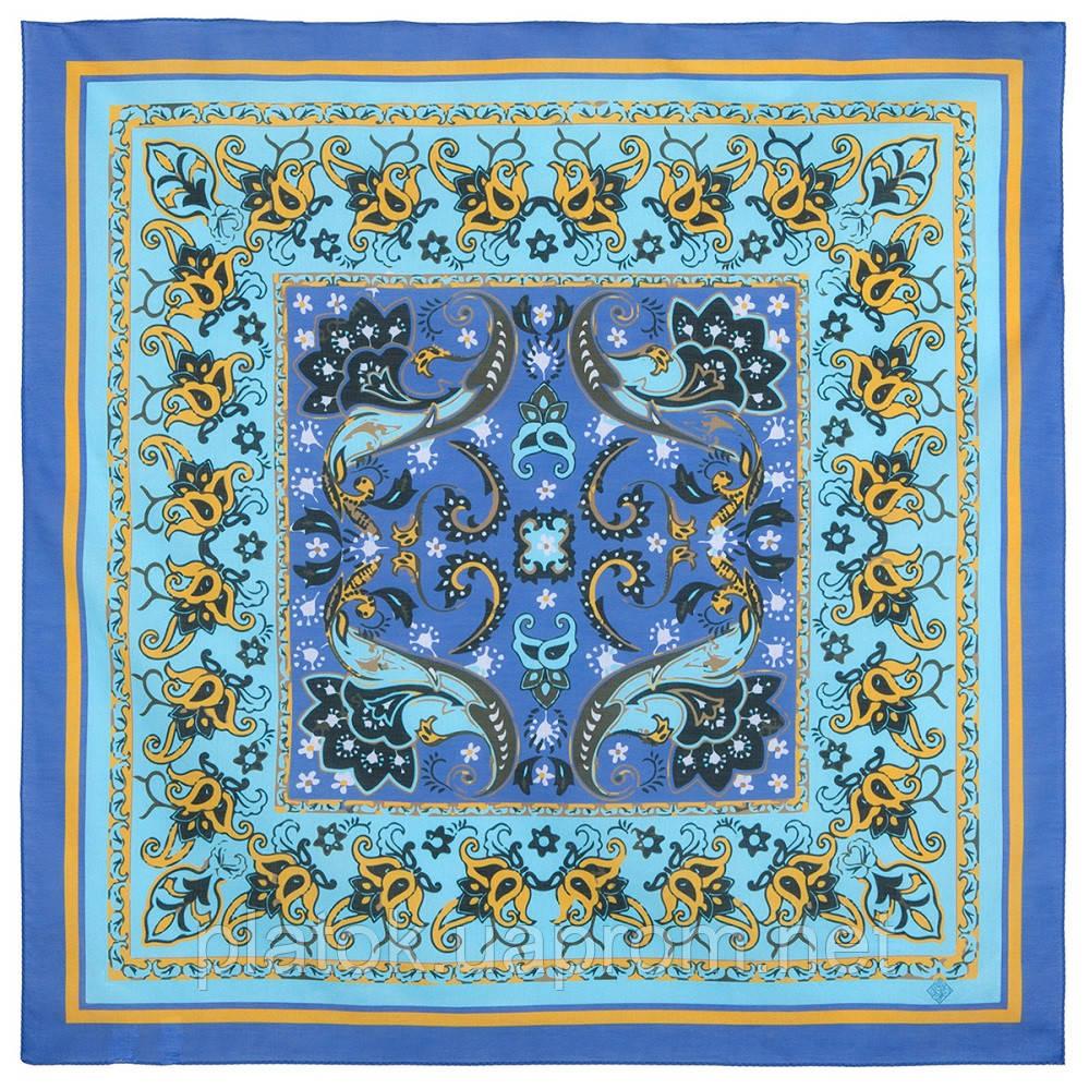10785-14, павлопосадский платок хлопковый (батистовый) с подрубкой